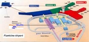 """План, карта, схема аэропорта """"Фьюмичино"""" в Риме"""