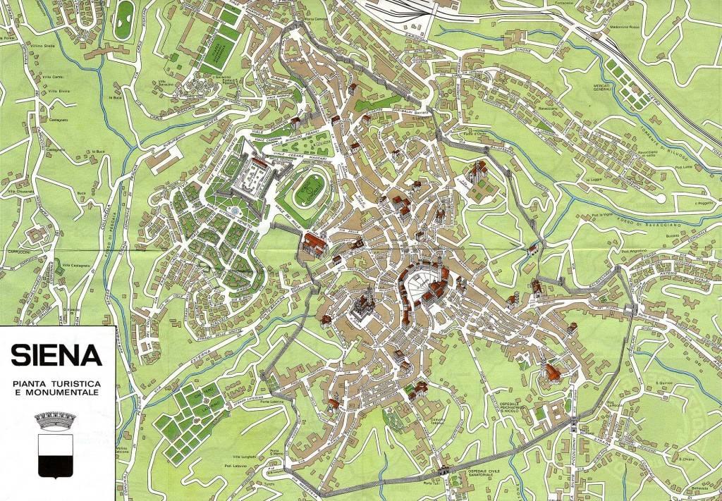 Карта Сиены с достопримечательностями