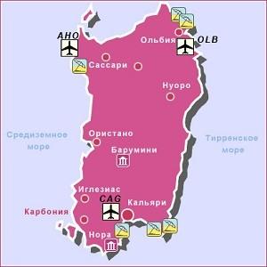 Карта Сардинии с аэропортами