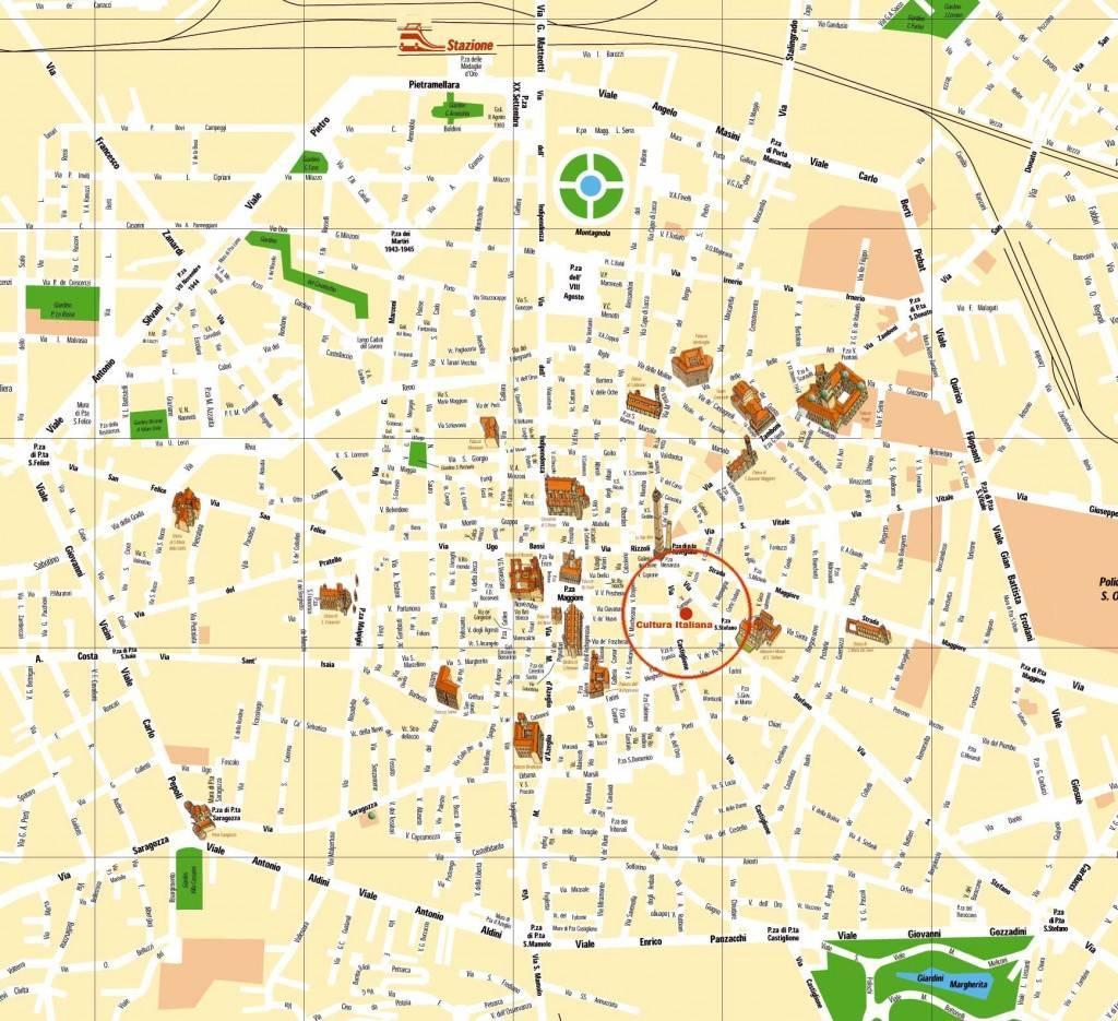 Достопримечательности Болоньи на карте