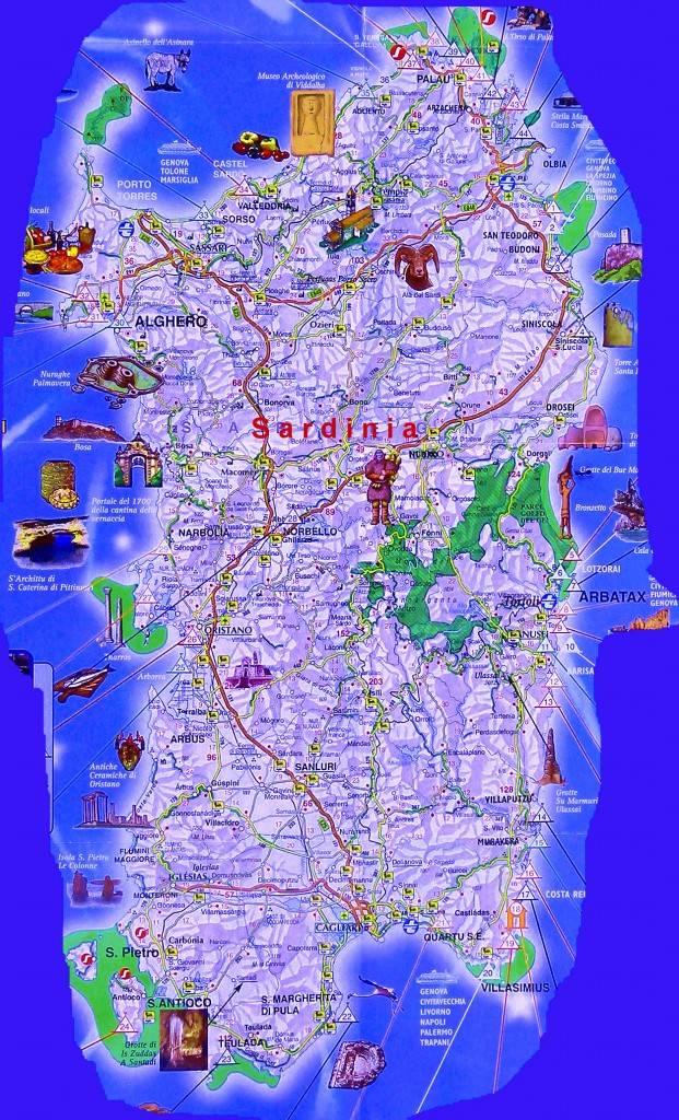 Достопримечательности на карте Сардинии