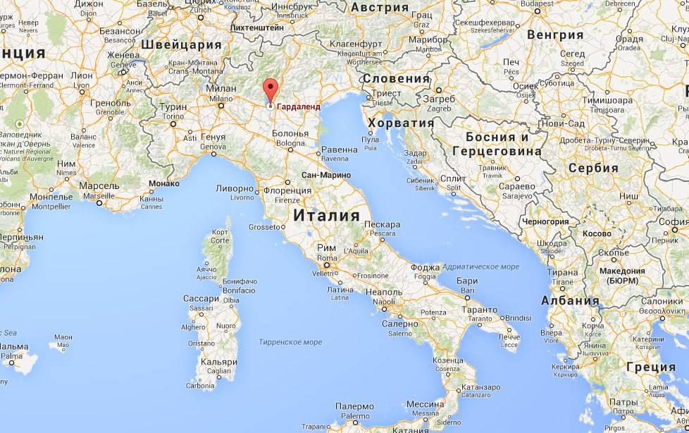 Гардаленд на карте Италии