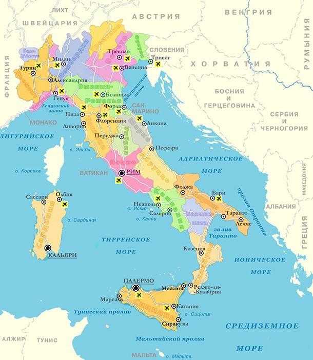 Карта курортов Италии на море