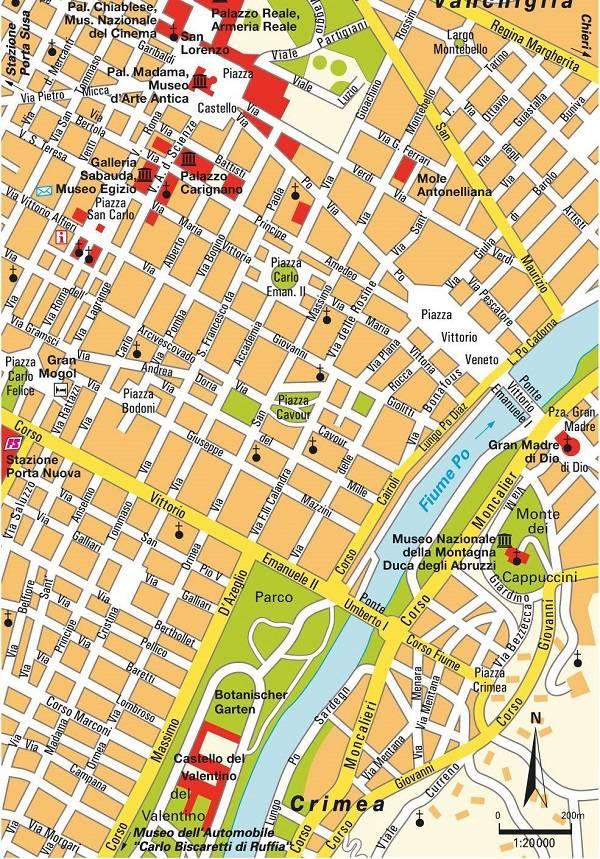 Достопримечательности Турина на карте