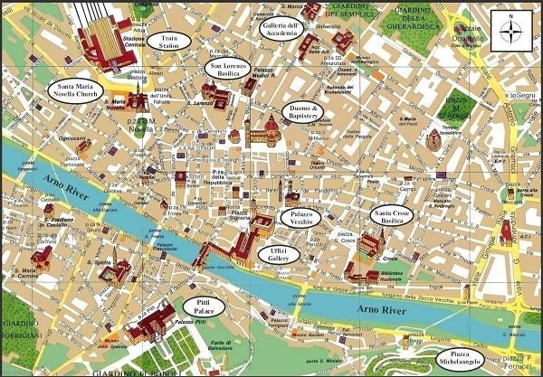 Карта Флоренции с достопримечательностями