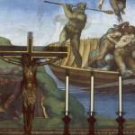 Фрагмент картины Микеланджело Страшный суд