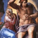 Фото фрагмента картины Микеланджело Страшный суд